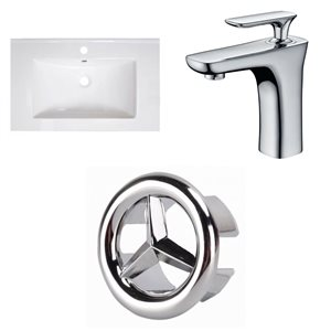 American Imaginations Roxy 30-in x 18.25-in White Ceramic Top Set with Chrome Faucet and Overflow Cap Single Hole