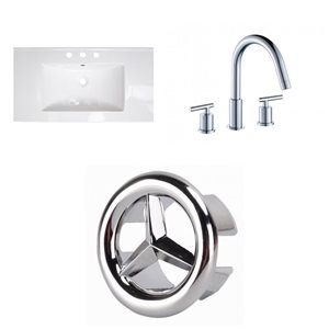 American Imaginations Flair 32-in x 18.25-in White Widespread Ceramic Top Set With Chrome Faucet And Overflow Cap
