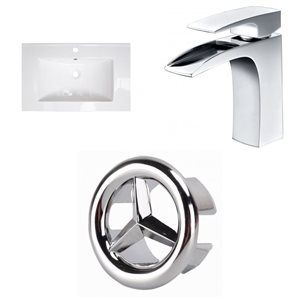 American Imaginations Flair 23.75-in x 18.25-in White Ceramic Vanity Top Set Single Hole Chrome Bathroom Faucet  Overflow Cap