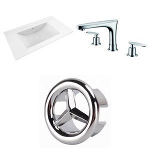American Imaginations 35.5-in x 19.75-in White Ceramic Vanity Top Set Widespread Chrome Bathroom Faucet Overflow Cap