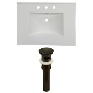 American Imaginations Flair 30.75 x 22.25-in White Ceramic Widespread Vanity Top Set Oil Rubbed Bronze Sink Drain