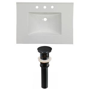 American Imaginations Flair 30.75 x 22.25-in White Ceramic Widespread Vanity Top Set Black Sink Drain