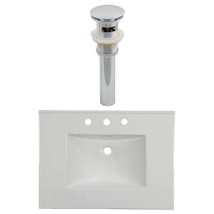 American Imaginations Flair 30.75 x 22.25-in White Ceramic Widespread Vanity Top Set Chrome Sink Drain