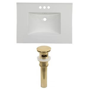 American Imaginations Flair 30.75 x 22.25-in White Ceramic 4-in Centerset Vanity Top Set Gold Sink Drain