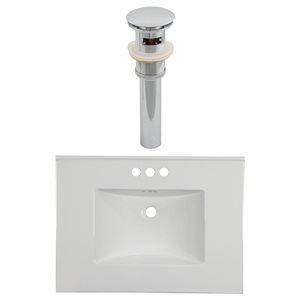 American Imaginations Flair 30.75 x 22.25-in White Ceramic 4-in Centerset Vanity Top Set Chrome Sink Drain