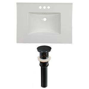American Imaginations Flair 30.75 x 22.25-in White Ceramic 4-in Centerset Vanity Top Set Black Sink Drain