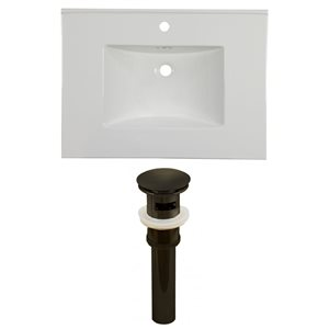 American Imaginations Flair 30.75 x 22.25-in White Ceramic Single Hole Vanity Top Set Oil Rubbed Bronze Sink Drain