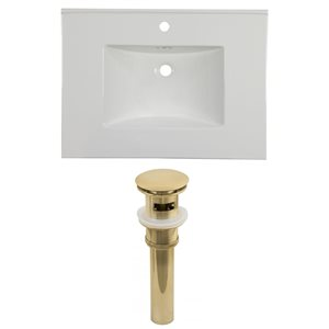 American Imaginations Flair 30.75 x 22.25-in White Ceramic Single Hole Vanity Top Set Gold Sink Drain
