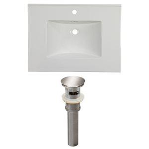 American Imaginations Flair 30.75 x 22.25-in White Ceramic Single Hole Vanity Top Set Brushed Nickel Sink Drain