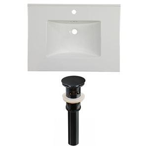 American Imaginations Flair 30.75 x 22.25-in White Ceramic Single Hole Vanity Top Set Black Sink Drain