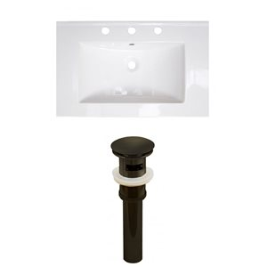 American Imaginations 24-in x 18-in White Ceramic Single Sink Black Drain