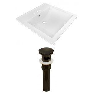 "American Imaginations 21.5"" x 18.5""  White Ceramic Vanity Top Set 4 -in Centreset Oil Rubbed Bronze Overflow Cap"