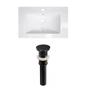 American Imaginations 24-in x 18-in White Ceramic Single Hole Black Sink Drain