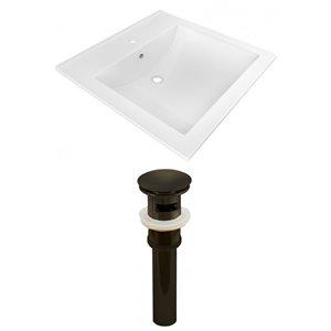 American Imaginations 21.5-in x 18.5-in White Ceramic Vanity Top Set Single Hole Oil Rubbed Bronze Bathroom Sink Drain
