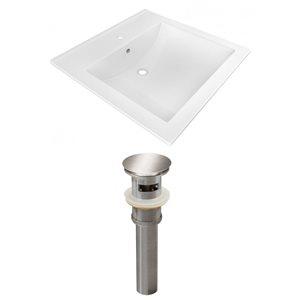 American Imaginations 21.5-in x 18.5-in White Ceramic Vanity Top Set Single Hole Brushed Nickel Bathroom Sink Drain