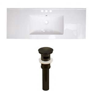 American Imaginations Flair 48.75-in x 22-in White Ceramic Vanity Top Set Widespread Oil Rubbed Bronze Bathroom Sink Drain