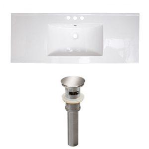 American Imaginations Flair 48.75-in x 22-in White Ceramic Vanity Top Set Widespread Brushed Nickel Bathroom Sink Drain