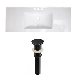 American Imaginations Flair 48.75-in x 22-in White Ceramic Vanity Top Set Widespread Black Bathroom Sink Drain