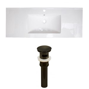 American Imaginations Flair 48.75 x 22-in White Ceramic Single Holed Vanity Top Set Oil Rubbed Bronze Sink Drain