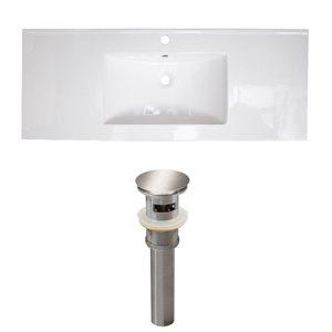 American Imaginations Flair 48.75 x 22-in White Ceramic Single Holed Vanity Top Set Brushed Nickel Sink Drain