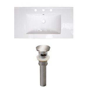 American Imaginations Flair 36.75 x 22.25-in White Ceramic Widespread Vanity Top Set Brushed Nickel Sink Drain