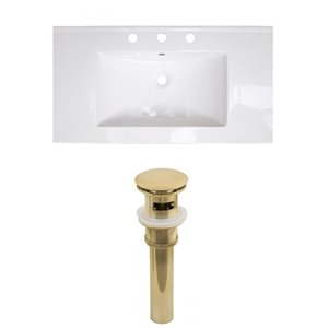 American Imaginations Flair 36.75 x 22.25-in White Ceramic 4-in Centerset Vanity Top Set Gold Bathroom Drain