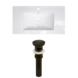 American Imaginations Flair 36.75-in x 22.5-in White Singlehole Ceramic Top Set With Oil Rubbed Bronze Sink Drain