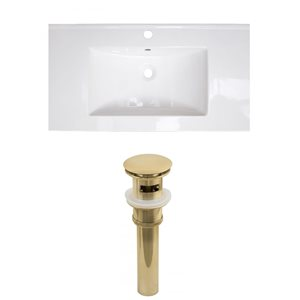 American Imaginations Flair 36.75-in x 22.5-in White Singlehole Ceramic Top Set With Gold Sink Drain