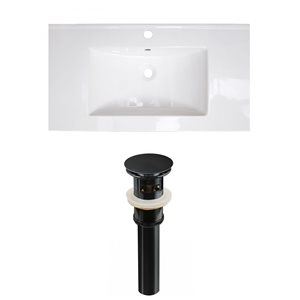 American Imaginations Flair 36.75-in x 22.5-in White Singlehole Ceramic Top Set With Black Sink Drain