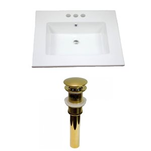 American Imaginations Flair 25-in x 22-in White Ceramic Vanity Top Set 4-in Centreset Gold Bathroom Sink Drain