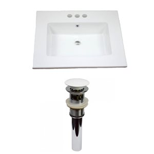 American Imaginations Flair 25-in x 22-in White Ceramic Vanity Top Set 4-in Centreset White Bathroom Sink Drain