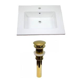 American Imaginations Flair 25-in x 22-in White Ceramic Vanity Top Set Single Hole Gold Bathroom Sink Drain