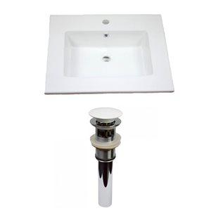 American Imaginations Flair 25-in x 22-in White Ceramic Vanity Top Set Single Hole White Bathroom Sink Drain