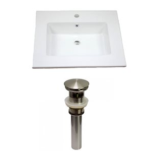 American Imaginations Flair 25 x 22-in White Ceramic Single Hole Vanity Top Set Brushed Nickel Sink Drain