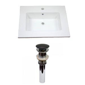 American Imaginations Flair 25 x 22-in White Ceramic Single Hole Vanity Top Set Black Sink Drain
