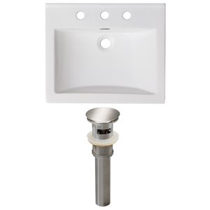 American Imaginations Omni 21- in x 18.5- in White Ceramic Top Set With Brushed Nickel Drain