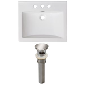 American Imaginations Omni 21- in x 18.5-in White Ceramic Top Set With Brushed Nickel Drain