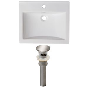 American Imaginations Omni 21-in x 18.5-in Single Hole White Ceramic Top Set With Brushed Nickel Drain