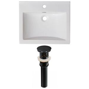 American Imaginations Omni 21-in x 18.5-in Single Hole White Ceramic Top Set With Black Drain