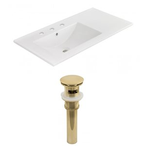American Imaginations 35.5-in x 18.25-in White Ceramic Vanity Top Set Widespread Gold Bathroom Sink Drain