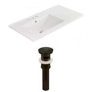 American Imaginations 35.5 x 18.25-in White Ceramic 4-in Centerset Vanity Top Set Oil Rubbed Bronze Sink Drain