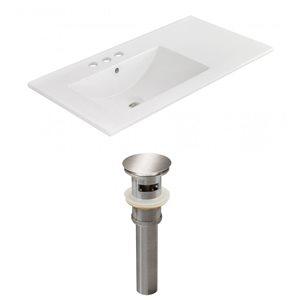 American Imaginations 35.5 x 18.25-in White Ceramic 4-in Centerset Vanity Top Set Brushed Nickel Sink Drain