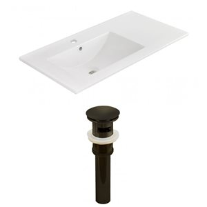 American Imaginations 35.5-in x 18.25-in White Ceramic Vanity Top Set Single Hole Oil Rubbed Bronze Bathroom Sink Drain