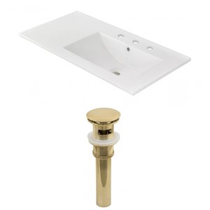 American Imaginations 35-in x 18.25-in White Ceramic Top Set With Gold Drain