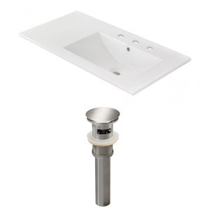 American Imaginations 35-in x 18.25-in White Ceramic Top Set With Brushed Nickel Drain