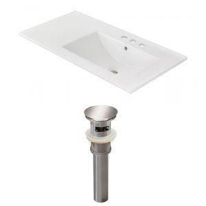 American Imaginations 35.5-in x 18.25-in White Ceramic Vanity Top Set 4-in Centreset Brushed Nickel  Bathroom Sink Drain