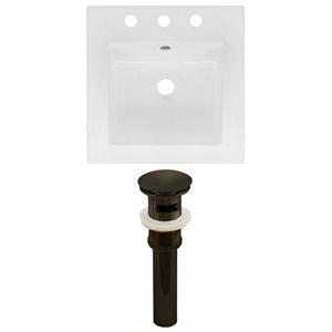 American Imaginations 16.5 x 16.5-in White Ceramic Widespread Vanity Top Set Oil Rubbed Bronze Sink Drain