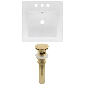 American Imaginations 16.5 x 16.5-in White Ceramic Centerset Vanity Top Set Gold Sink Drain