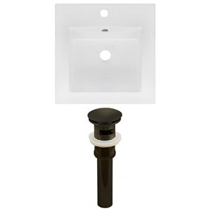 American Imaginations 16.5 x 16.5-in White Ceramic Single Hole Vanity Top Set Oil Rubbed Bronze Sink Drain