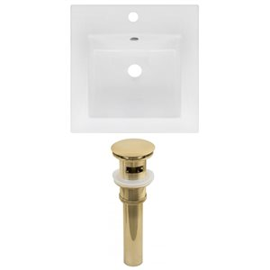 American Imaginations 16.5 x 16.5-in White Ceramic Single Hole Vanity Top Set Gold Sink Drain